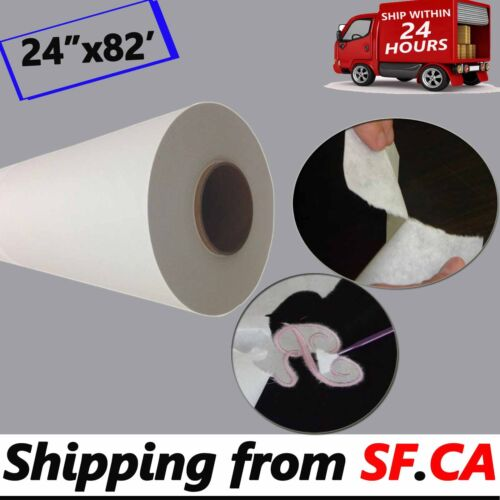 """24""""x82ft. 2 Rolls White Easy to Tear Away Machine Embroidery Stabilizer Backing"""