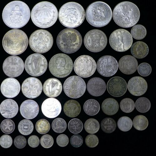LOT of (50) Different Foreign World Silver Coins - Nice Mix [Lot-A]