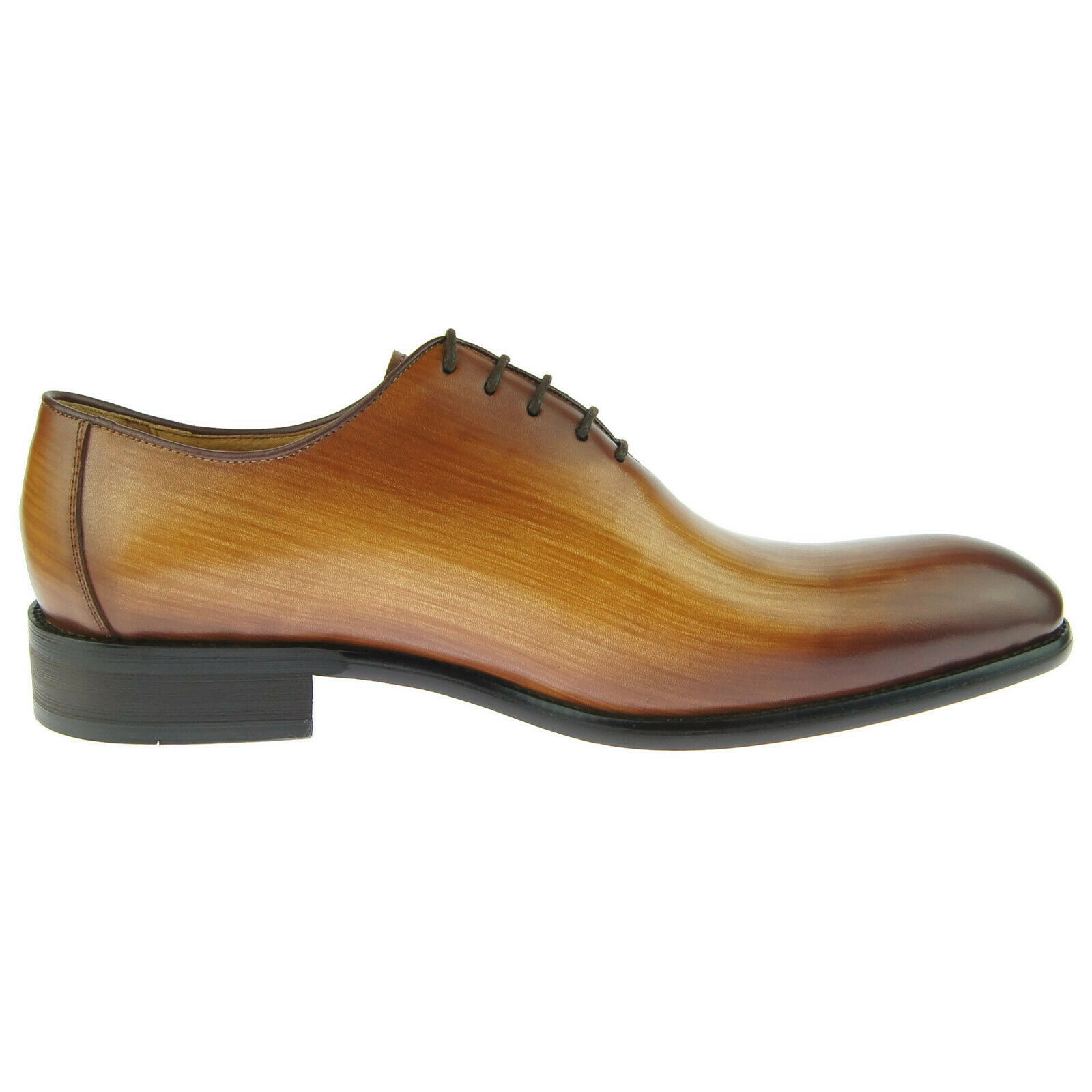 Carrucci Plain Toe Wholecut Oxford, Men's Dress Leather Shoes, Cognac 1