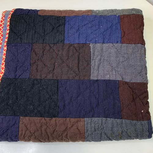vintage wool quilt brown blue square patches twin full 65x80 handmade blanket