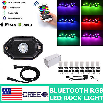 8PCS LED Rock Light Pod Aluminum Wireless Bluetooth RGB Color Under Car JEEP RZR