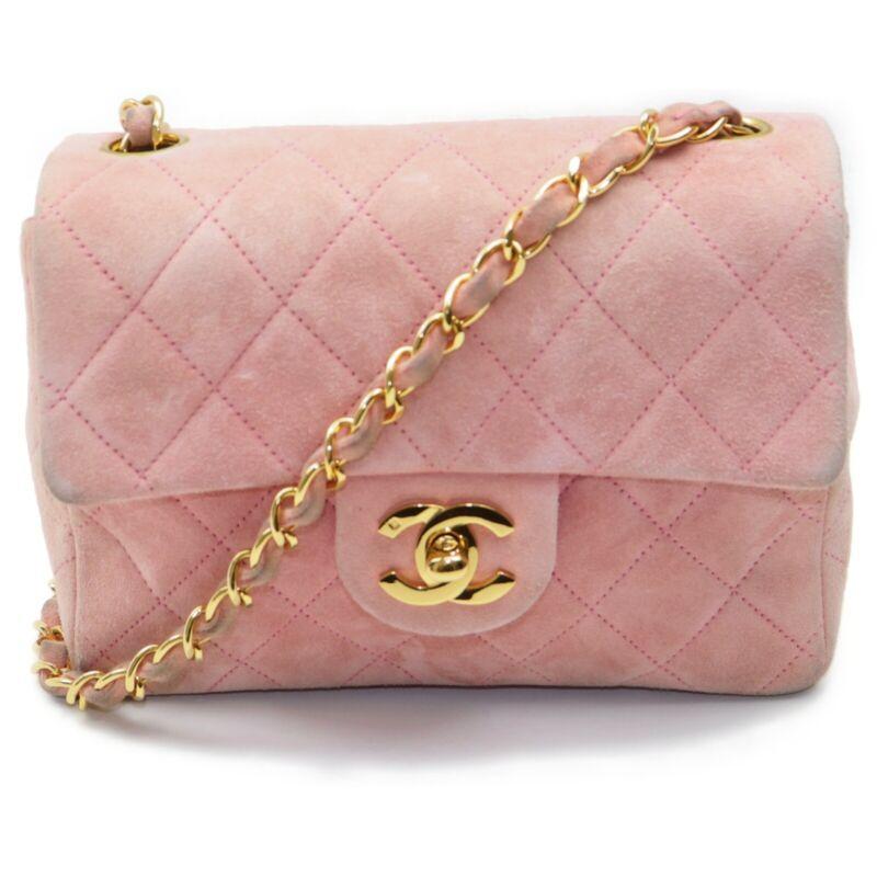 Chanel Shoulder Bag Mini Matelasse Pinks Suede Leather 401372