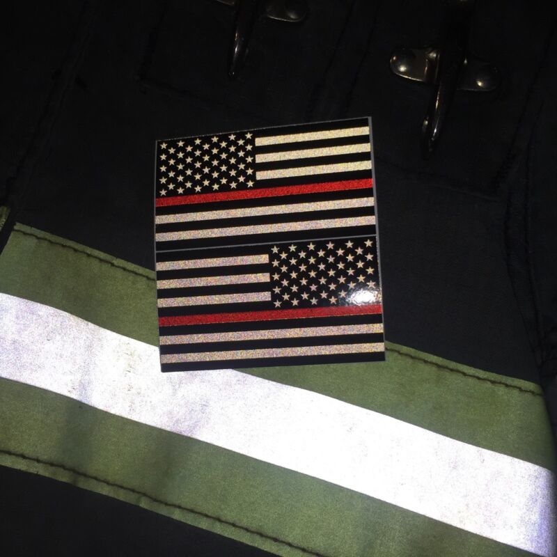 "Subdued Reflective Thin Red Line American Flags Mirrored 3""- FIREFIGHTER DECAL"