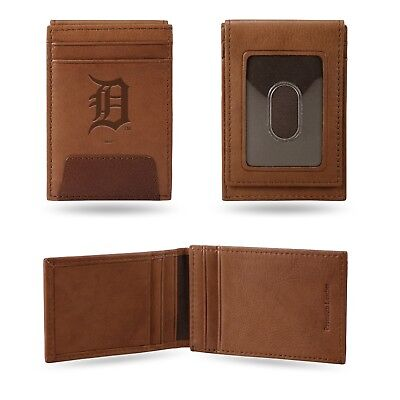 Detroit Tigers Premium Brown Leather Money Clip Front Pocket Wallet Baseball