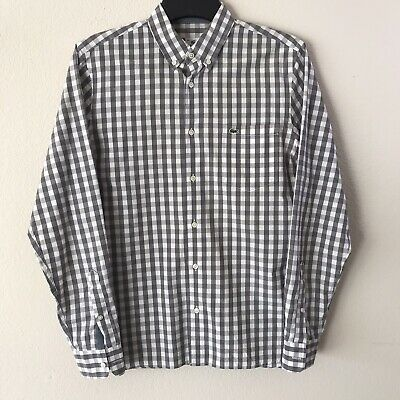 Lacoste Classic Fit White Gray Check Gingham Button Down Shirt Sz 38 (S) RN87651