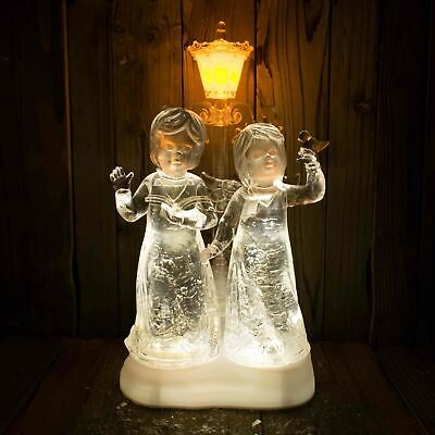 Angels by Lamp Post Warm White LED Christmas Water Spinner