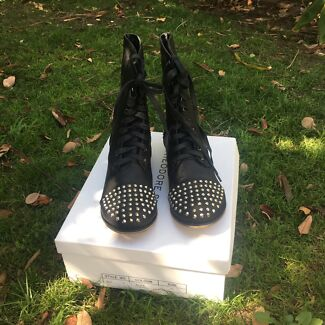 Brand new in box Theodore stone studded combat boots