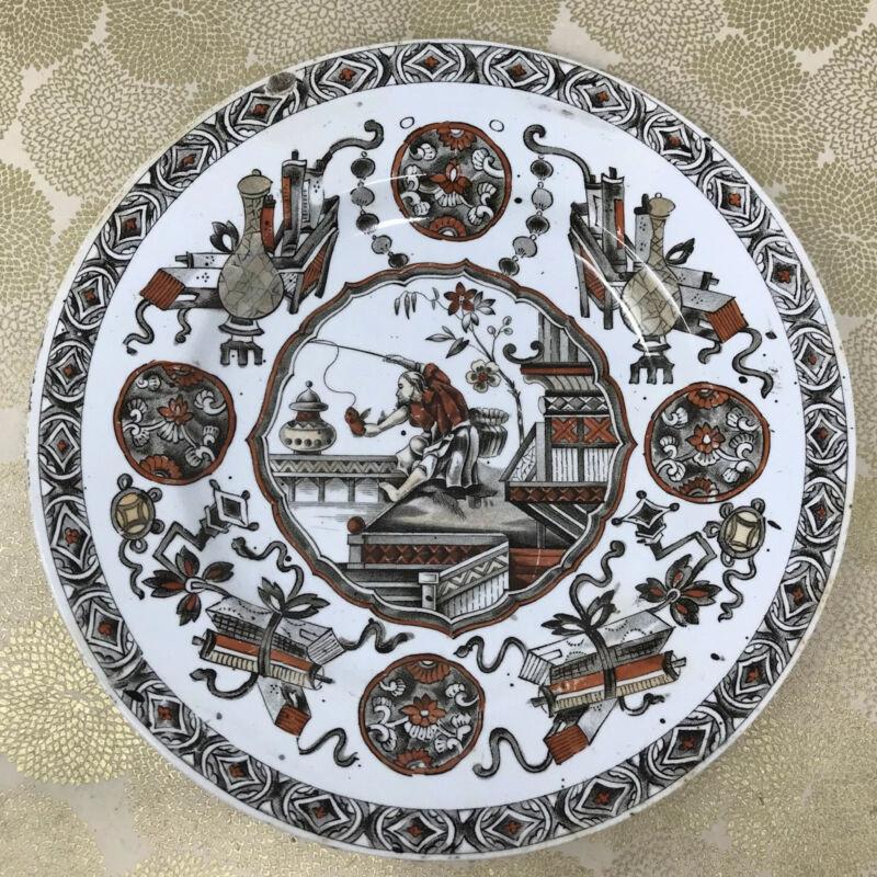 """Antique 1878 Ridgway, Sparks & Ridgways YEDDO Hand Tinted Japonesque 8.5"""" Plate"""