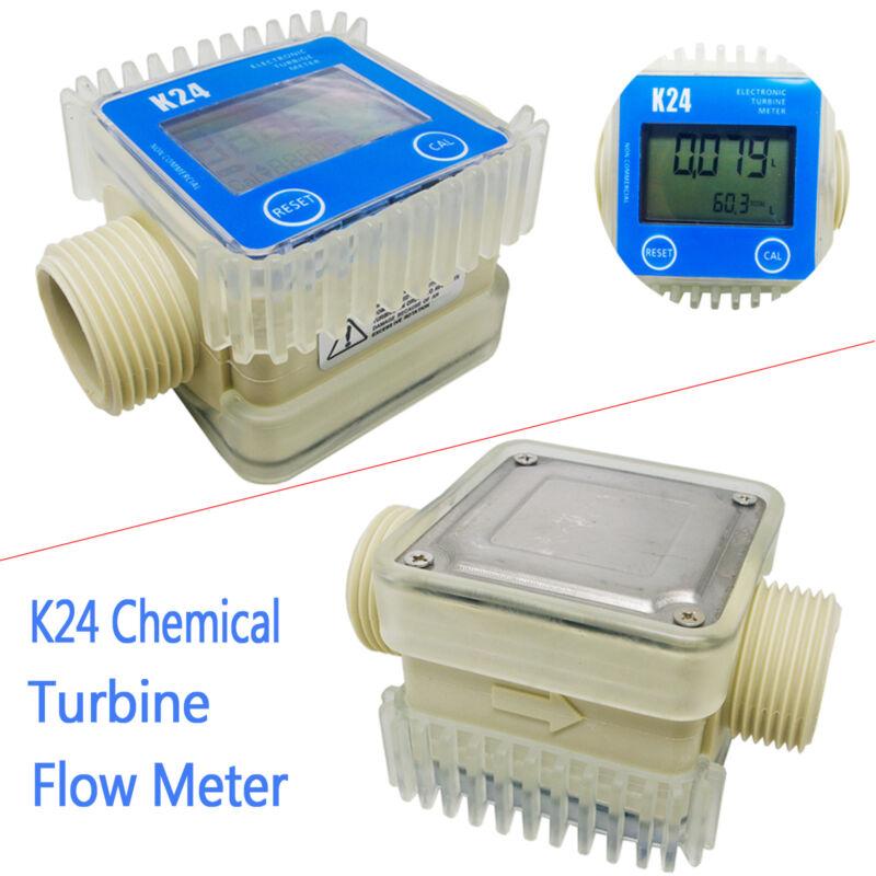 New Blue Pro K24 Turbine Digital Diesel Fuel Flow Meter For Chemicals Water