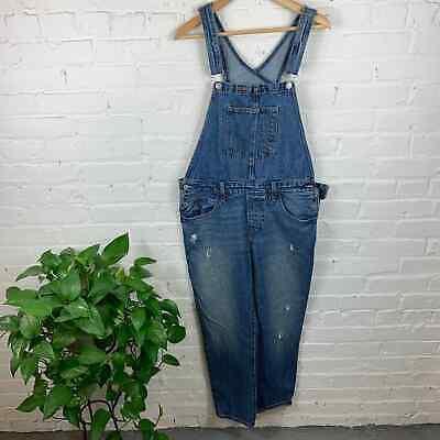 Vintage Overalls & Jumpsuits Levis Women's Bib Overalls Distressed Denim Jeans Blue Size Large $40.00 AT vintagedancer.com