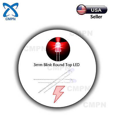 100pcs 3mm Red Self Blink Blinking Flash Led Light Emitting Diode Clear Lights