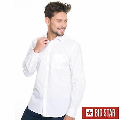Baumwolle Gewebt Shirt (Big Star Herren SHIRT KOLISOS SHIRT LS 110 Hemd Langarm Weiss Gewebt Freizeit)