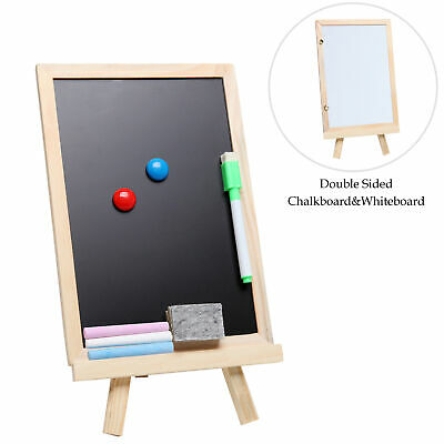 MyGift Small Wood Chalkboard Easel, Whiteboard Stand w/ Chalks, Magnets & Marker - Small Chalkboards