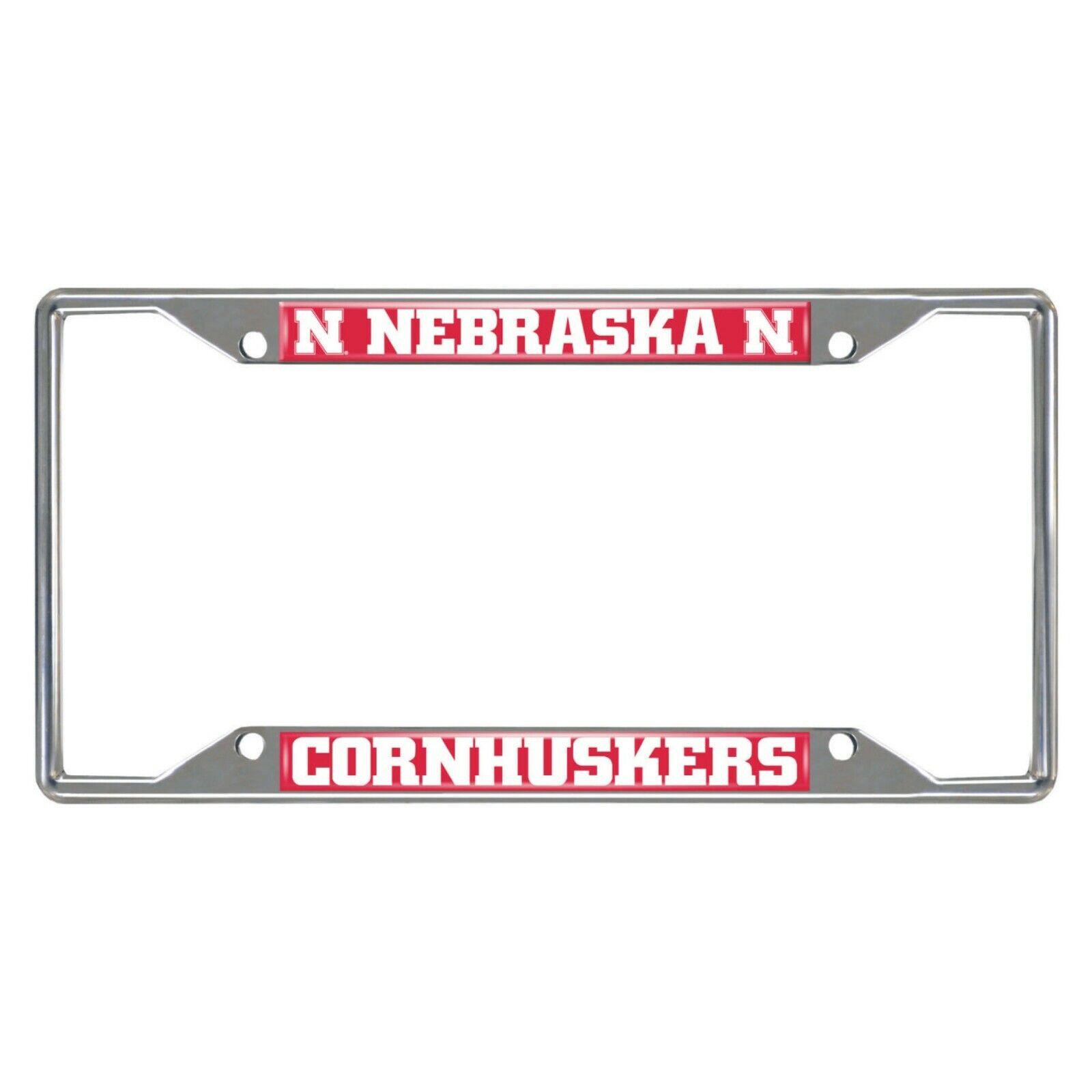 ncaa nebraska cornhuskers metal chrome license plate