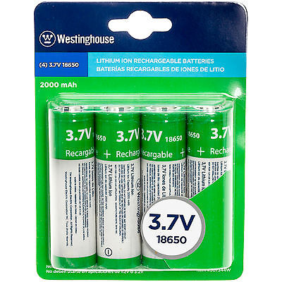 Westinghouse 18650 4-Pack 3.7V 2000mAh Lithium Ion Rechargable Batteries