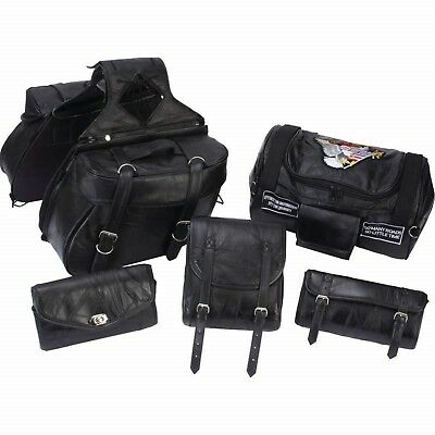 Diamond Plate 6pc Rock Design Genuine Buffalo Leather Motorcycle Luggage Set Diamond Plate Leather Motorcycle Luggage Set