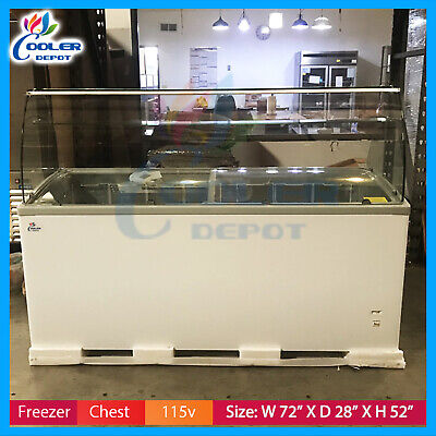 72 Gelato Ice Cream Glass Display Chest Freezer Commercial Nsf Cooler Depot