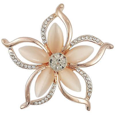(CRYSTAL ROSE GOLD PINK MODERN PLUMERIA FLOWER BROOCH MADE WITH SWAROVSKI ELEMENT)