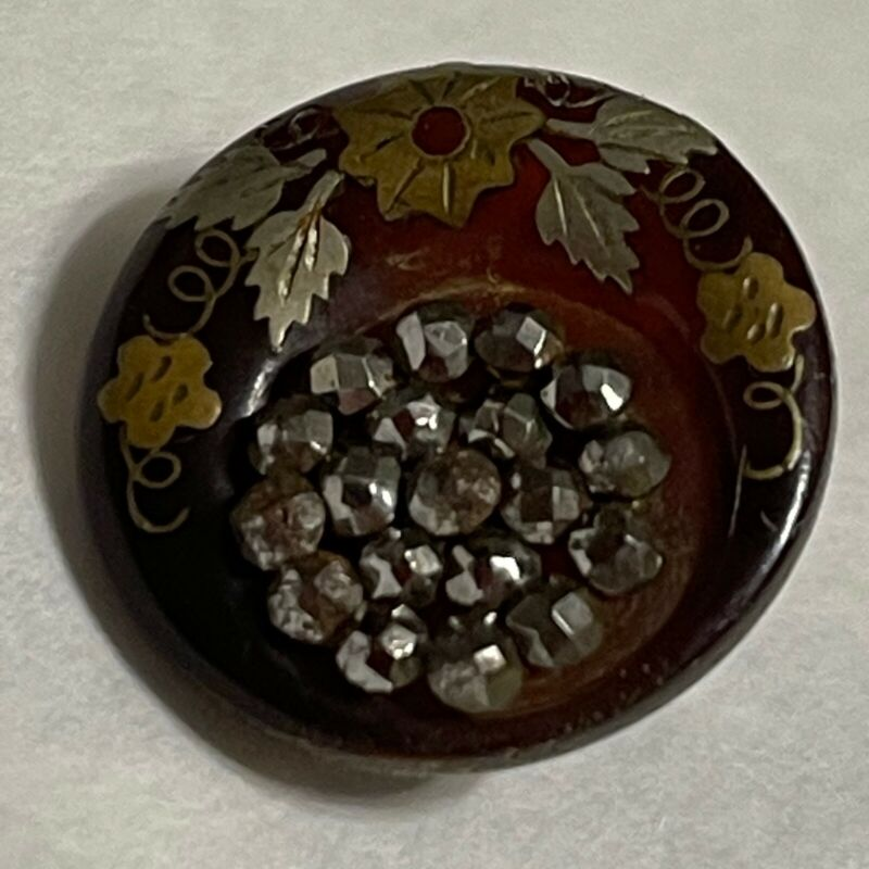 Antique Button Cut Steels Inlay Gold & Copper in Horn Translucent Red