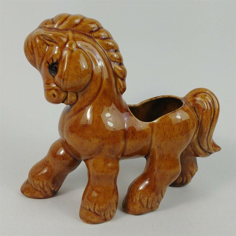 Goldammer Porcelain Ceramic Brown Horse Planter Figurine