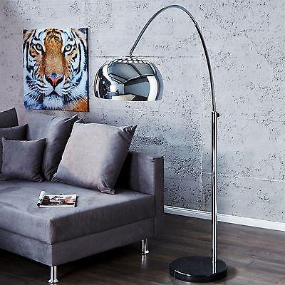 BIG BOW BODENLEUCHTE CHROM | DESIGN LAMPE | BOGENLAMPE | Lounge Stehlampe silber