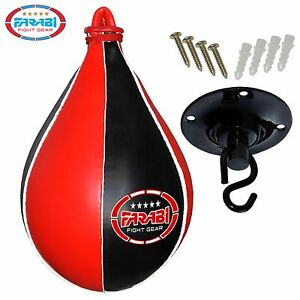Farabi-Speed-Ball-Pear-Shape-Punching-Bag-Swivel-Black-Red