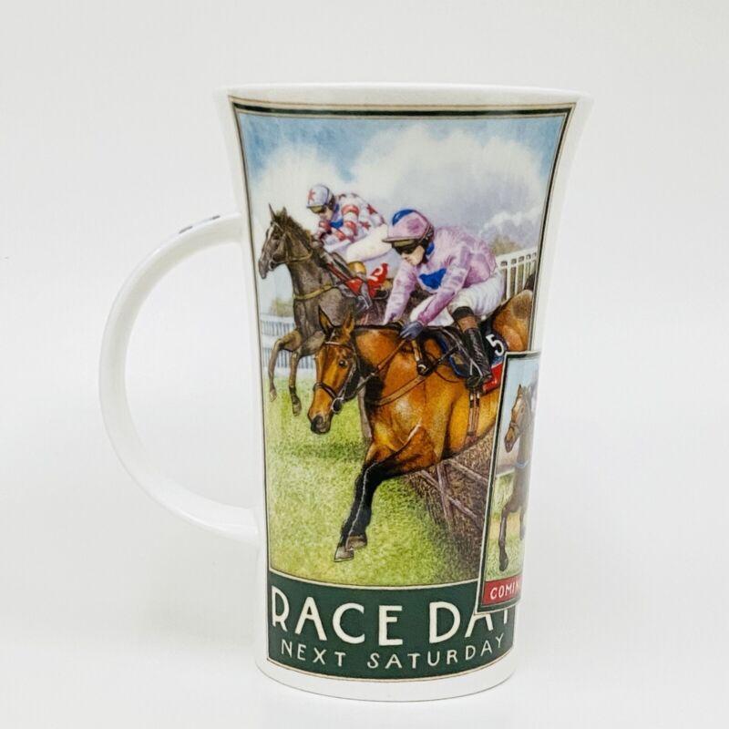"""Dunoon """"CHASERS"""" Horse Racing Fine Bone China Glencoe Shape Tall Mug NWOT 6"""""""