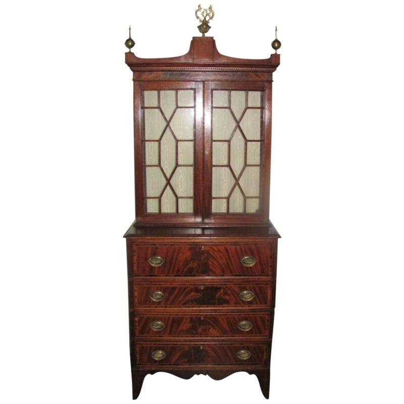 Antique American Federal Mahogany Secretary Bookcase Circa 1790