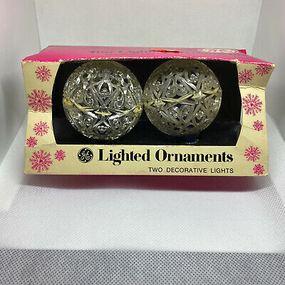 2 Vintage General Electric GE Lighted Ornaments Blue Bulbs Christmas Lights C7 Christmas Electric Ornaments
