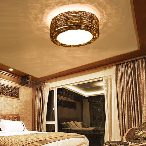 Bamboo Wicker Chandelier Rattan Drum Shade Flush Mount Ceiling Light Fixture