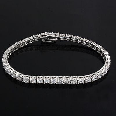 New Men's Ladies 1 Row Diamond White Gold Finish Tennis Bracelet 7 Inch