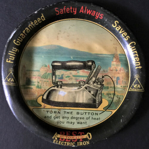 Vintage DOVER Mfg Co Best Electric Iron TIP TRAY Canal Dover Ohio Asbestos Sad