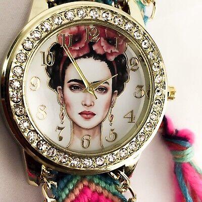 Frida kahlo Mexican artist art women watch gold bracelet handwoven Jewerly  pink