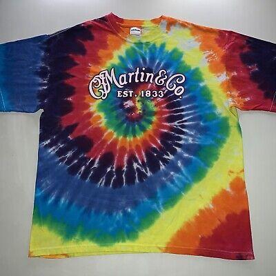 Vintage C. F. Martin & Co. Guitar Logo Tie Dye Band Tee Shirt X Large NEW Rare