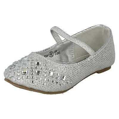 Mädchen-silber-schuhe (Spot On H2R303 Mädchen Silber Schuhe mit Strass Muster (R7B) ( J&k ))