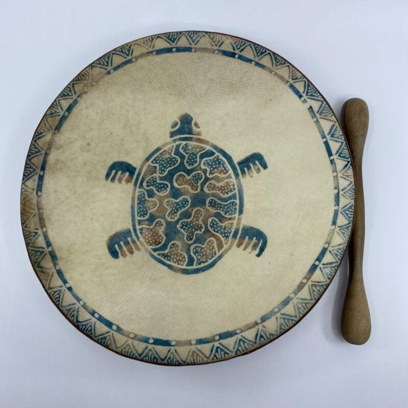 "Vintage 9"" Painted Native American Rawhide Shamanic Drum & Stick Turtle Paint"