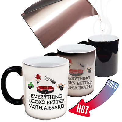 Funny Mugs Everything Looks Better With A Beard Moustache MAGIC