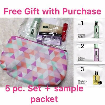- Clinique 5-PC Skincare Makeup Gift Set with 3-step sinkcare sample packet
