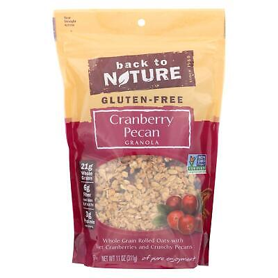 Back To Nature Cranberry Pecan Granola Whole Grain Rolled Oats Case of 6 - 11 oz