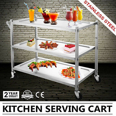 3 Tier Stainless Steel Catering Cart Shop Cart Trolley Storage Restaurant Dining