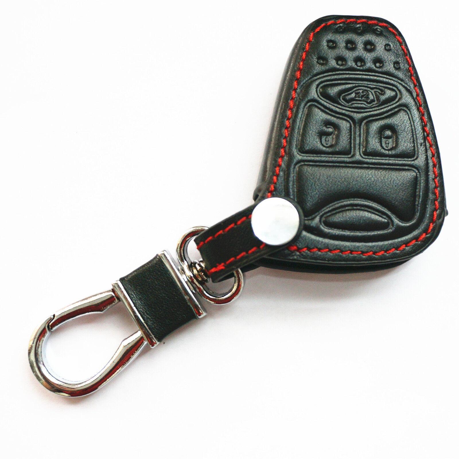 Black Genuine Leather Key Chain Cover Case bag Fob For Dodge Jeep Chrysler Aspen
