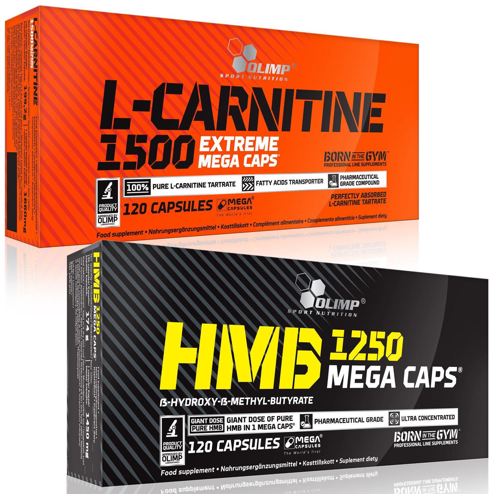 L-Carnitine + HMB 60-120 Capsules Non-Stimulant Fat Burner Weight Loss Slimming