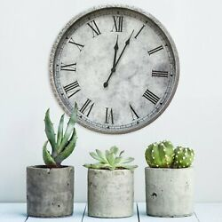 Large Metal Wall Clock Off White Gray Roman Numerals Granite Finish 18 in Decor