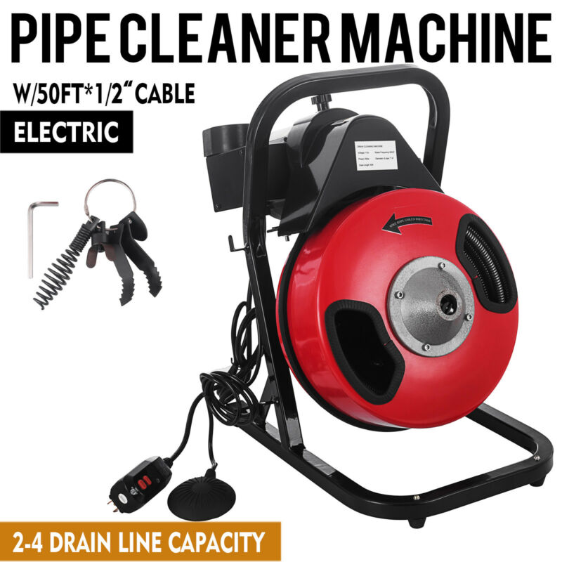 """Commercial SEWER SNAKE drain auger cleaner 50 ft long 1/2"""" 4 cutter foot switch"""