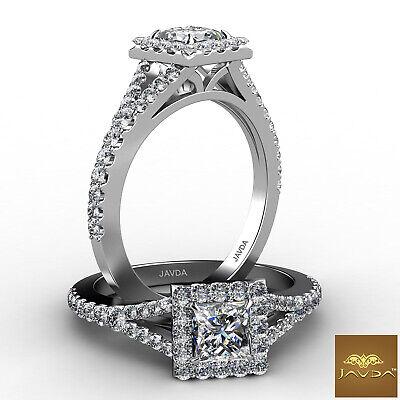 Halo Split Shank Princess Diamond Engagement French Pave Ring GIA F VS1 1.22 Ct