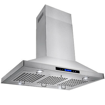 """36"""" Stainless Steel Island Mount Range Hood with Touch Screen Display LED"""