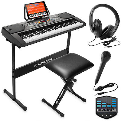61-Key Electronic Keyboard Portable Digital Piano and Stand, Mic, USB, -