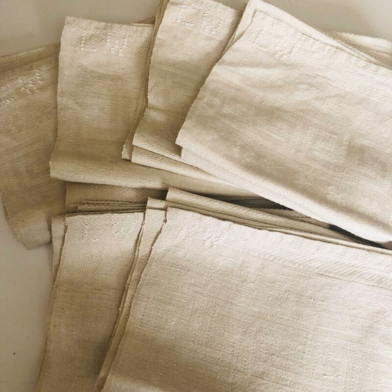 Vtg Lot 6 European Linen Large Kitchen Towels Greek Key LW Mono 17 x 25 Hou