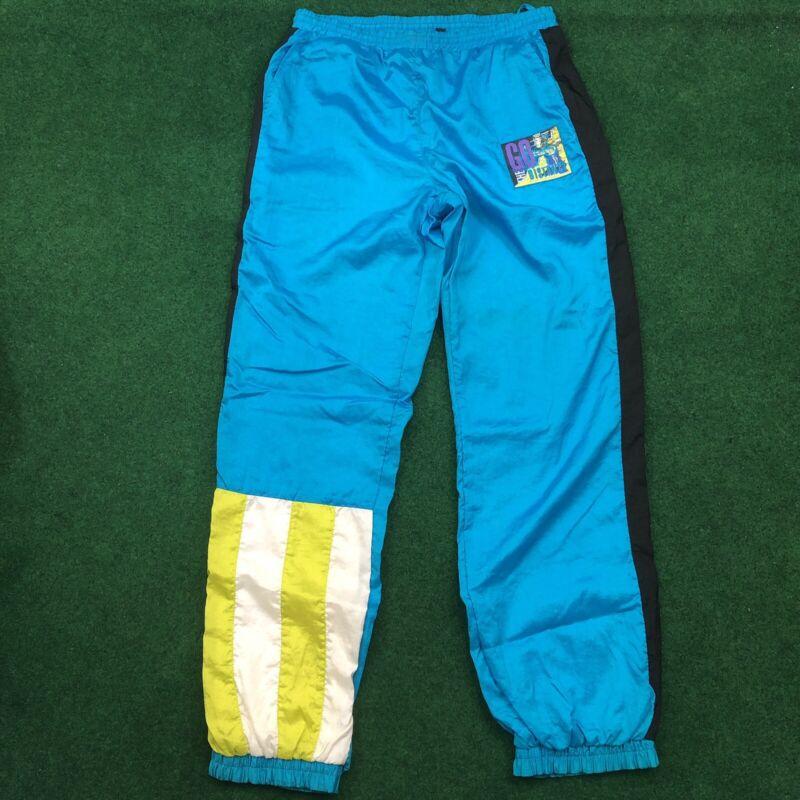 Vintage Track Pants Nylon 80s Blue/Black/White/Green Color Block  size XL 18-20