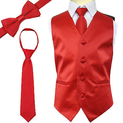 New Kid's Brand Boy's Tuxedo Vest Zipper Neck Tie & Bowtie 3 in 1 Set Red (Boys In Tuxedo)